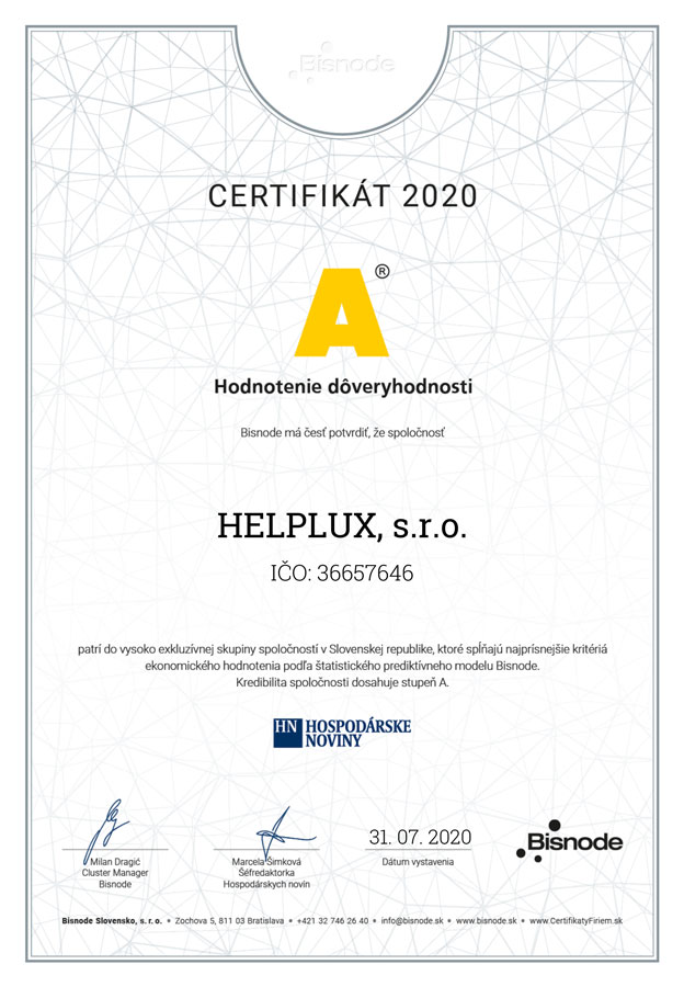 helplux doveryhodná firma certifikát